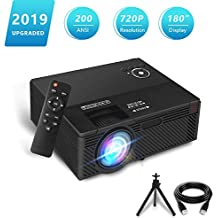 """Projector,2019 Newest Aoxun A1 Native 720P Portable Home Theater LCD HD Video Projector with 200 ANSI,180"""" Large Screen,Support 1080p HDMI/VGA/AV Multiple Ports"""