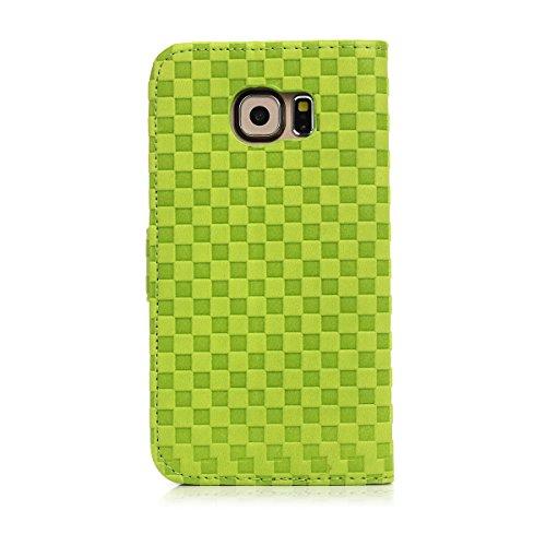 Samsung Galaxy S6-Four color Voltaje Plazoleta Ranura para tarjeta tirón del cuero de la cubierta del soporte de la carpeta Funda para Samsung Galaxy S6 (marrón) verde