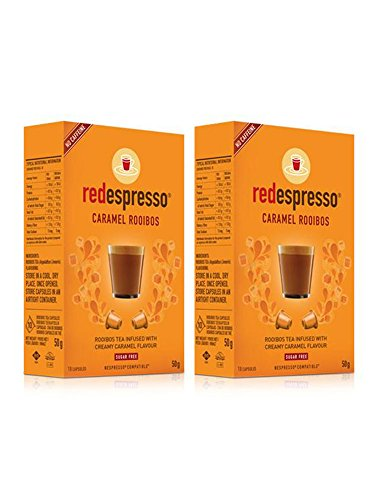 Red Espresso Caramel Rooibos Tea Capsules – Nespresso Compatible 20 capsules (2 box)