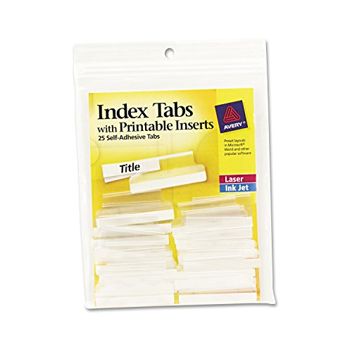 Avery Self-Adhesive Tabs w/Printable Inserts, 1 1/2 in, W...
