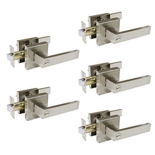 - Gobrico Satin Nickel Bedroom/Bathroom Door Handle Lever Square Plate Interior Privacy Door Locksets 5Pack