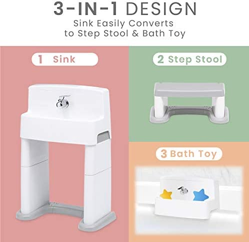 DELTA CHILDREN PERFECTSIZE 3-IN-1 CONVERTIBLE SINK, STEP STOOL AND BATH TOY FOR KIDS, WHITE/GREY