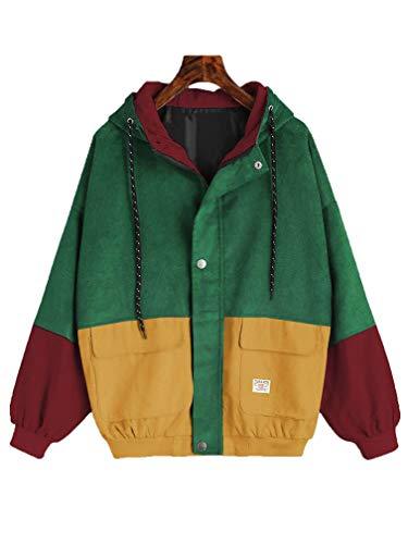 LeaLac Womens Vintage Long Sleeve Hoodie Corduroy Patchwork Pockets Jacket Oversized Windbreaker Coat L259-147 Green+Yellow M ()