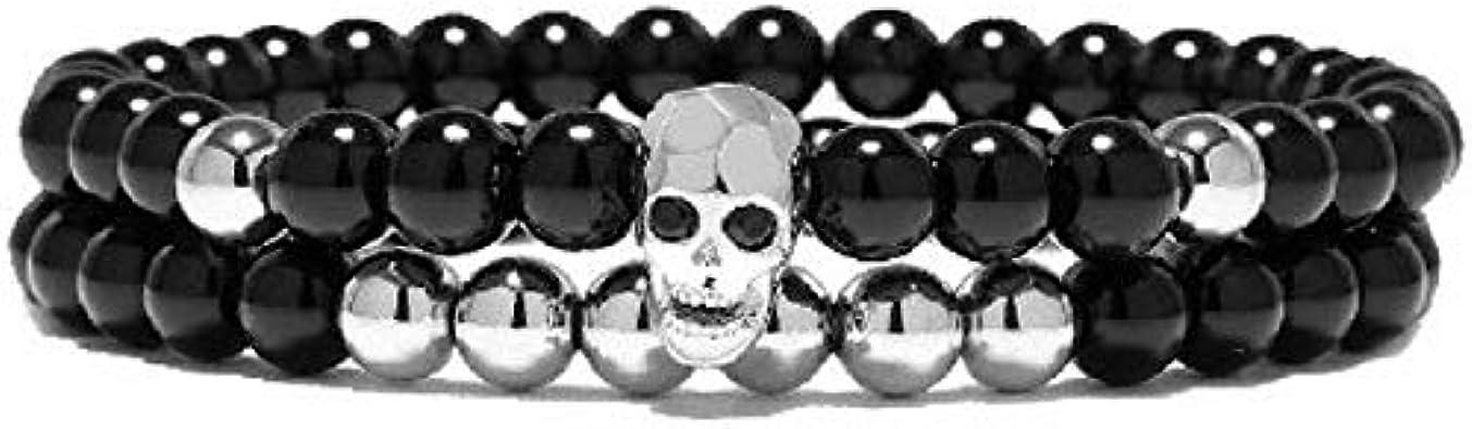 ROKETS - Pulsera Platinum Calavera - Piedras Semi Preciosas de Onyx - Hombre