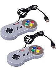 EVORETRO 2x USB Controllers NES-SNES Classic Emulator Gamepads w/ 10 Cords | Raspberry Pi 3 | Plug-and-Play TV, PC, MacOS Super Nintendo Gaming