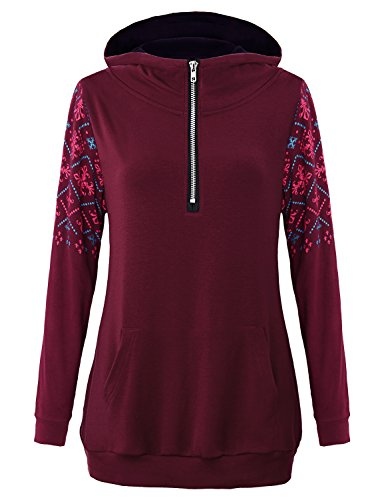 s & Sweatshirts,Juniors Workout Clothing Quarter Zip Funnel Neck Pullover Sweater Long Sleeve Active Running Shirt Cashmere Tuinc Tops with Pockets Wine Red L (Cashmere Funnel Neck Sweater)