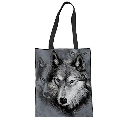 Upetstory Canvas Tote Bag Shoulder Bag Plain Animal Wolf Print Eco-Friendly Grocery Handbags