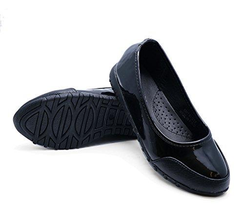 HeelzSoHigh Mädchen Schwarz Lack Schule Zum Reinschlüpfen Kinder Smart Flach Kinder Schuhe Pumps Größen 12-3