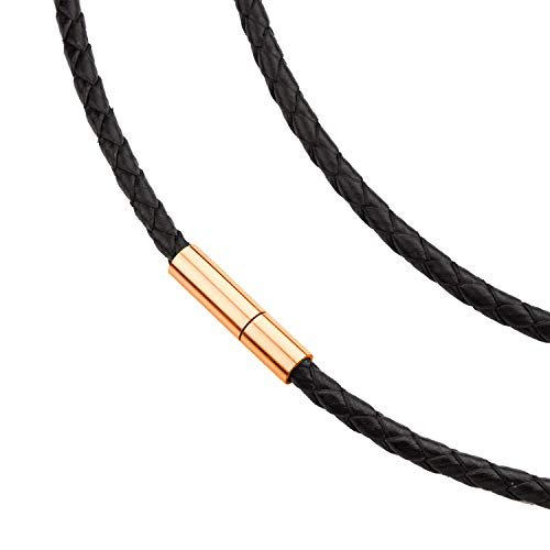 555Jewelry Men Women Unisex Stainless Steel Braided Rope Genuine Leather Twist Cord Wrap Around Vintage Magnetic Clasp Single Lock Fine Fashion Jewelry Accessories Necklace, Pink Rose Gold 18 Inch ()