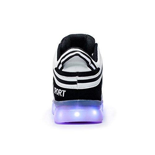 Men 7 Women Colors amp; Fashion USB Rechargeable Light Led Shoes Luminous Black Unisex nHZtWrZx