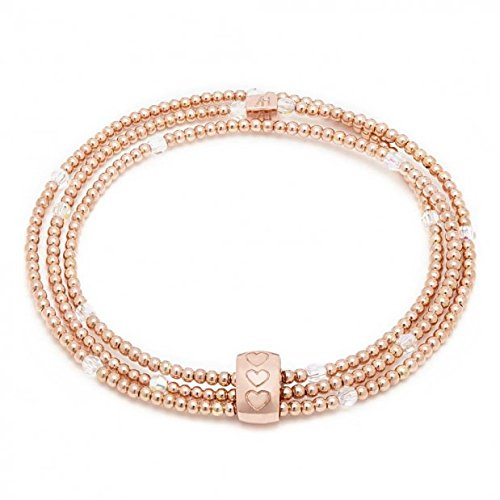 ANNIE HAAK Blissful Swarovski Crystal & or rose Looped Bracelet fait main avec cristaux 3mm, 2mm Or Rose Perles & Gravé 9ct or rose Cubed perles