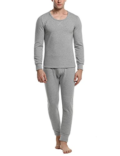 MAXMODA Men's Thermal Microfiber Fleece Lined Top & Bottom Underwear Set Gray (Micro Fleece Thermal)
