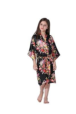 Vogue Forefront Girls' Floral Print Satin Kimono Robe Bathrobe
