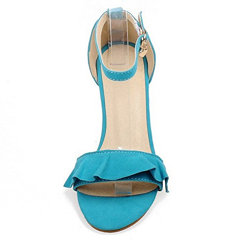 Coolcept Women Mid Heel Sandals Block Heels Ankle Strap Suede Ladies Dress Heeled Shoes Open Toe ¡ Blue NpXRh