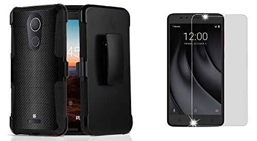 T-Mobile REVVL Plus - Accessory Bundle: Dual Layer Shockproof Kickstand Belt Holster Case - (Dark Carbon Fiber), Bubble-Free Tempered Glass Screen Protector and Atom (Belt Cp Carbon Fiber)