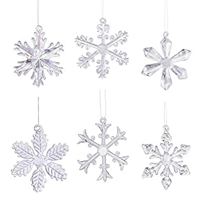 Best Epic Trends 41BkIEWDNsL._SS300_ Klikel Glass Snowflake Ornament - Winter Christmas Tree Hanging Decorations - Set of 18