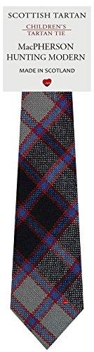 (Boys Clan Tie All Wool Woven in Scotland MacPherson Hunting Modern Tartan)