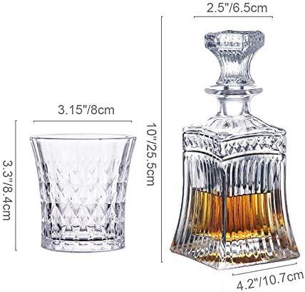 DFJU Juego de decantador de Whisky, Juego de decantador de 5 Piezas Que Incluye 4 Copas de cóctel Preciosas, Excelentes Regalos para los Amantes del Vino, Vino de Whisky Bourbon y Otros licores
