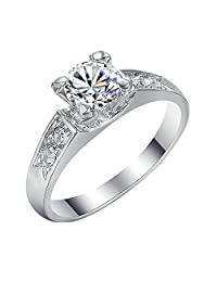 Yoursfs CZ Solitaire Ring Women's Cubic Zirconia Engagement Ring Wedding Anniversary Silver Plated Ring