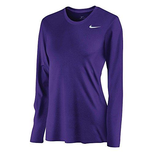 Nike Womens DriFit Legend Long Sleeve TShirt, Purple, SM