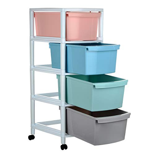 Regalo Drawer, Multicolour, 4 Drawer, 14.56 X 12.2 X 31.88 Inches