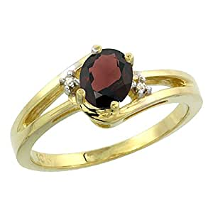 14ct de oro amarillo de granate Natural del anillo de 6 x 4 mm Oval acento de diamante, de tallas J - T