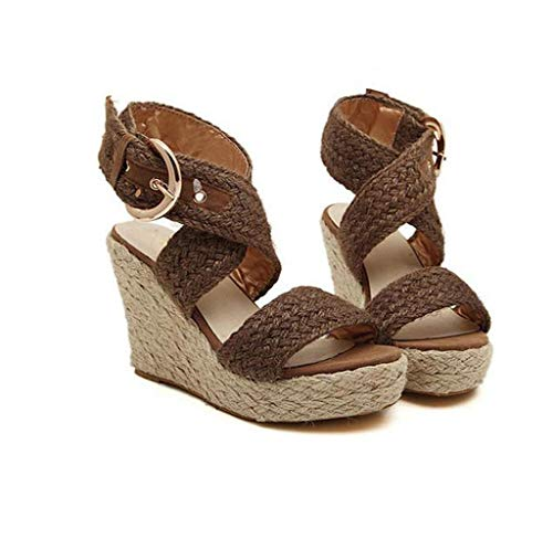 Studded Buckle Strap Creeper Shoe - Wouke Women's Heeled Sandal,Ladies Fashion Casual Buckle Studded Wedges Sandals Criss Cross Strap Ankle Wrap Sandals Brown