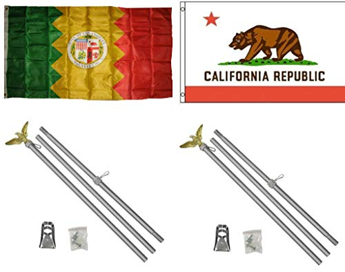 ALBATROS 3 ft x 5 ft City of Los Angeles with State California Flag with 2 Aluminum with Pole Kit Sets for Home and Parades, Official Party, All Weather Indoors Outdoors -