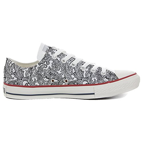 Converse All Star zapatos personalizados (Producto Artesano) Black & White Paisley