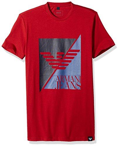 ARMANI JEANS Men's Split Eagle Logo Tshirt, RED, Large
