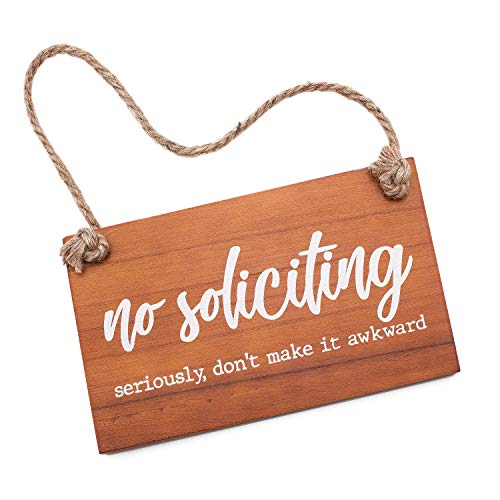 Treasure Trades No Soliciting Sign for House Entry Funny - Seriously, Don't Make it Awkward Wooden 6x10 Door Hanging Sign on Rope Hanger