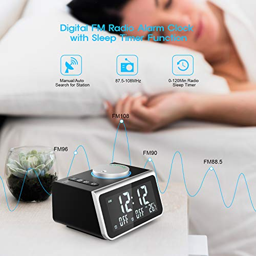 LATME Alarm Clock Radio with Dual Alarms,3.2'' Digital Display and Dimmer,7 Alarm Sounds,Snooze,2 USB Ports,Bedside FM Radio Alarm Clocks with Temp Display for Bedrooms/Kitchen/Office (Black-Grey)