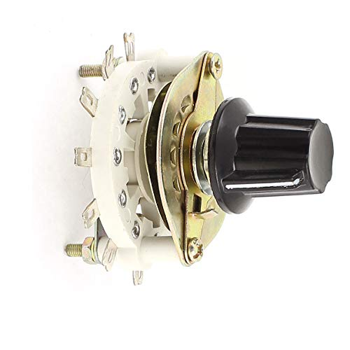 Aexit Black Plastic Switches Cap Rotary Switch Band Channel Selector 1 Pole Foot Switches 6 Throw -