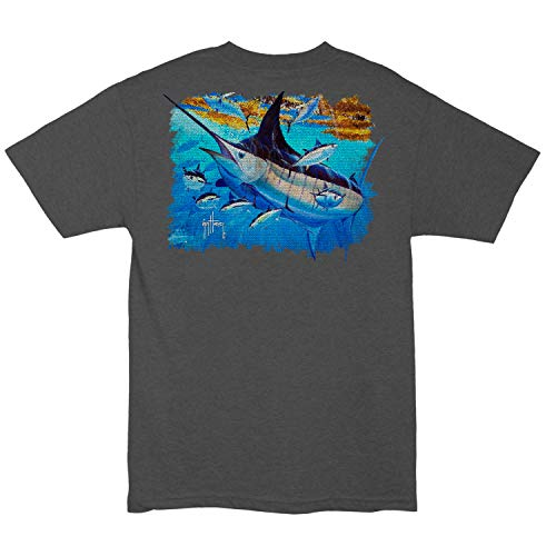 Guy Harvey Men's Mosaic Pocketed Short-Sleeve Tee Charcoal (XL)
