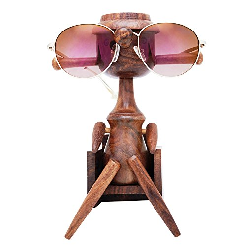 Fun Birthday Gift Ideas Handcrafted Rosewood Reading Glasses Stand Spectacle Stand or Eye Glass Holder Wooden Tabeltop Display Stand 7.5 Inches Anniversary Housewarming Gifts For Men Women Him (Art Deco Rosewood Table)