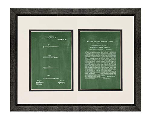 Sewing Needle Patent Art Green Chalkboard Print in a Beveled Black Wood Frame with a Double Mat (20'' x 24'') M15827 by Frame a Patent (Image #4)