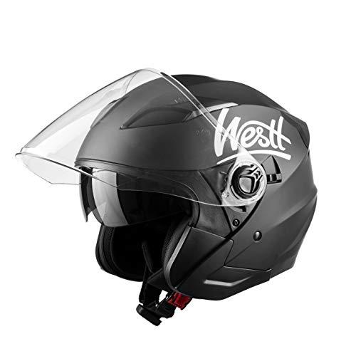WESTT Jet Motorrad-Helm I Motorradhelm schwarz-matt I Rollerhelm mit Doppelvisier I Jethelm Herren & Damen I…