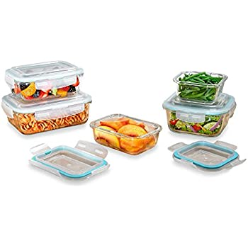 10 Piece Borosilicate Glass Square/Rectangular Containters w/ Locking Lid - BPA Free - 100% Airtight- Scratch Proof & Odor Free - Dishwasher, Freezer, Oven, and Microwave Safe - Stackable