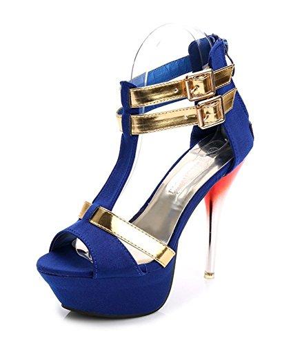 Easemax Mujeres Sexy Gladiador Stiletto Peep Toe Tobillo Plataforma Con Cremallera Alta Sandalias De Tacón Alto Azul