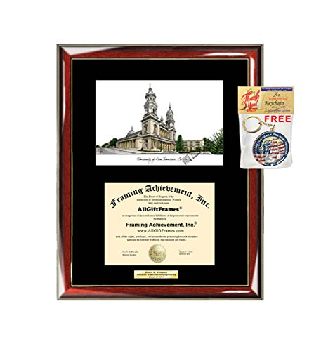 University of San Francisco Diploma Frame Lithograph USF Degree Certificate Framing Graduation Gift Graduate Black Matted Frames (San Francisco Lithograph)