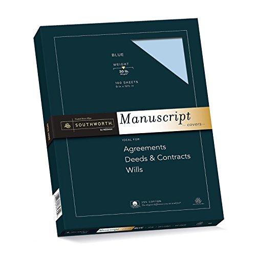 Southworth 41SM 25% Cotton Manuscript Covers, Blue, 30lb,...