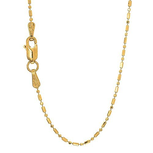 14K Yellow and White Gold 1.5mm Shiny Diamond Cut Bar & Bead Chain Necklace for Pendants and Charms with Lobster-Claw Clasp (16