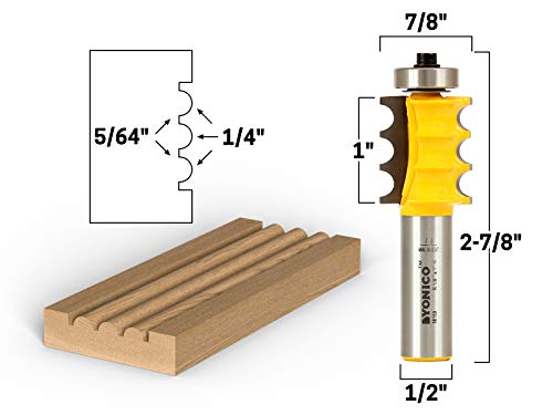 - Yonico 16159 Triple Bead/Column Molding Router Bit 1/2-Inch Shank