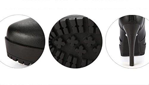 Heel L Plattform und Rhinestone Spring High Fashion Schuhe Black Frauen Herbst Black Stiletto Round YC Deep Red Schuhe wO7O8rqtU