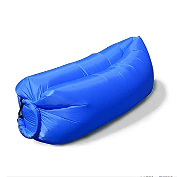 Inflatable Sofa Air Bed Chair Seat Blow Up Lounger Bag Festival Camping  Beach (Blue)