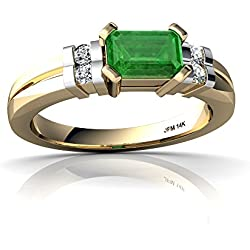 14kt Gold Emerald and Diamond 6x4mm Emerald_Cut Art Deco Ring