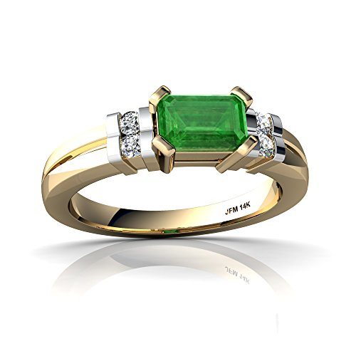 14kt Yellow Gold Emerald and Diamond 6x4mm Emerald_Cut Art Deco Ring - Size 8