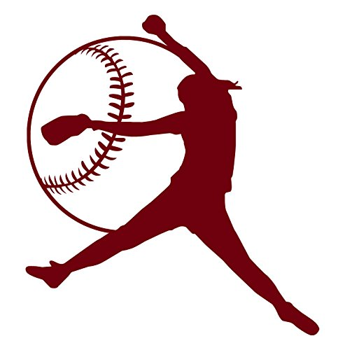 Girls Softball BURGUNDY-Right Hand Softball Pitcher Vinyl Wall Decal-Fastpitch Softball Decal-Unique Softball Gifts For Women Or Teen Girls-A One Piece RH Softball Wall Decal ()