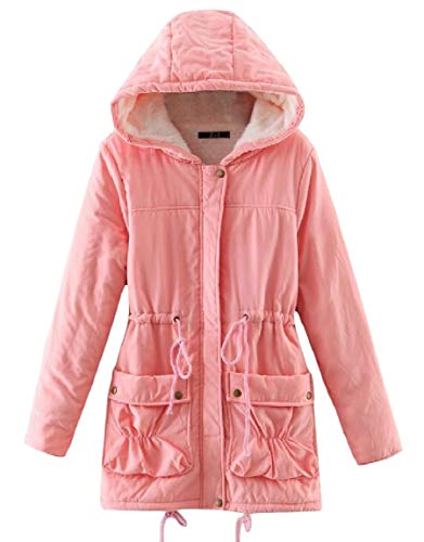 Waist Hood Womens Mogogo Coat Long Pink Outwear Smocked Velvet Pocket Thick Mid wqURfpZ