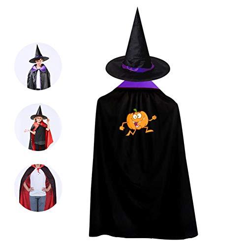 69PF-1 Halloween Cape Matching Witch Hat Funny Pumpkin Wizard Cloak Masquerade Cosplay Custume Robe Kids/Boy/Girl Gift -